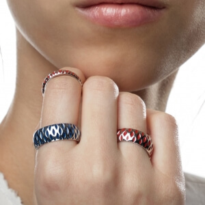 Stříbrný prsten DUO L